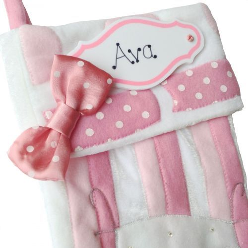 B Personalised Pink & White Christmas Stocking For Baby Girls by ...
