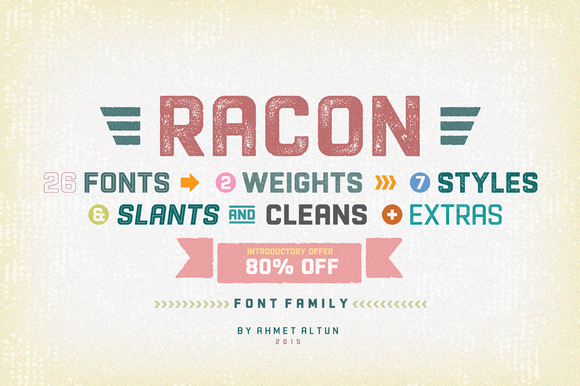 Racon Font Family- 80%OFF by aatype on Creative Market