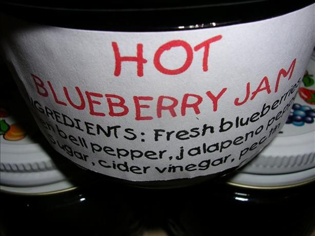 Raspberry Jalapeno Jelly Recipe.  Ignore the label, this is for raspberry, not blueberry.  :)