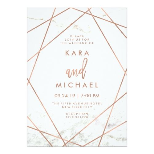 Marble And Faux Rose Gold Geometric Wedding Invite Zazzle Com In