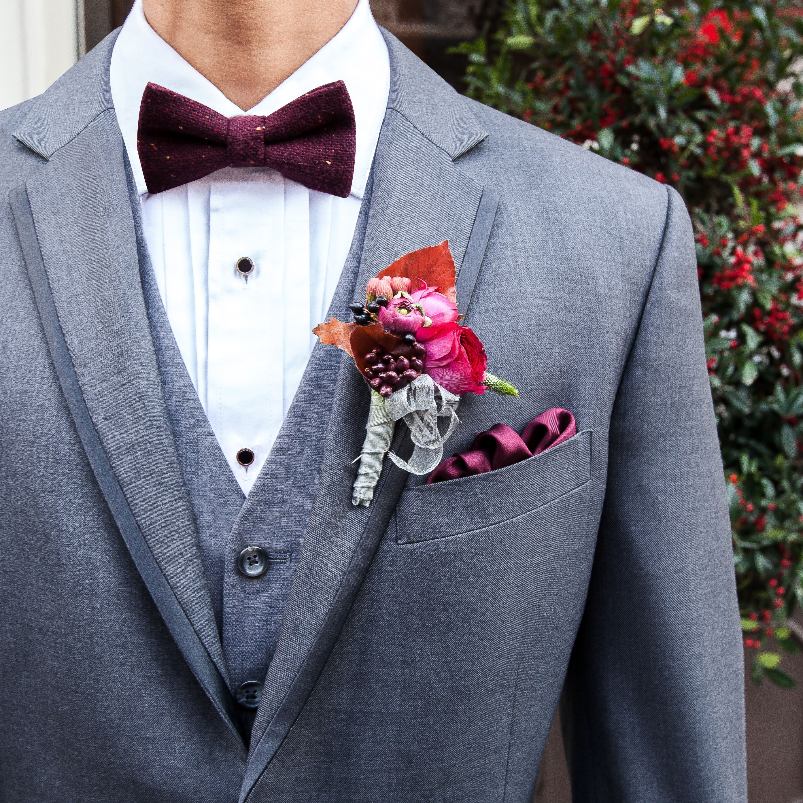 Add burgundy pieces for a bold winter wedding look.