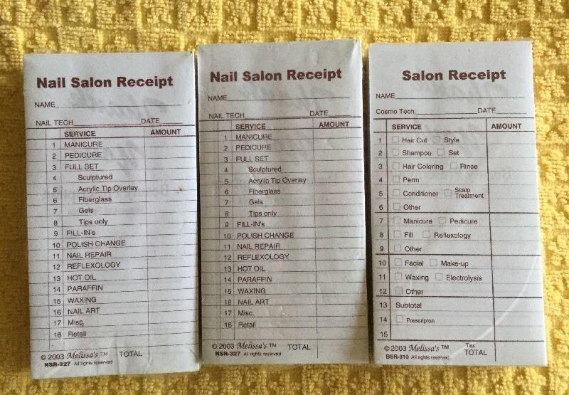 MELISSAu0027S Beauty Salon Spa Money Cash Receipt Check Pads Nail - cash receipt