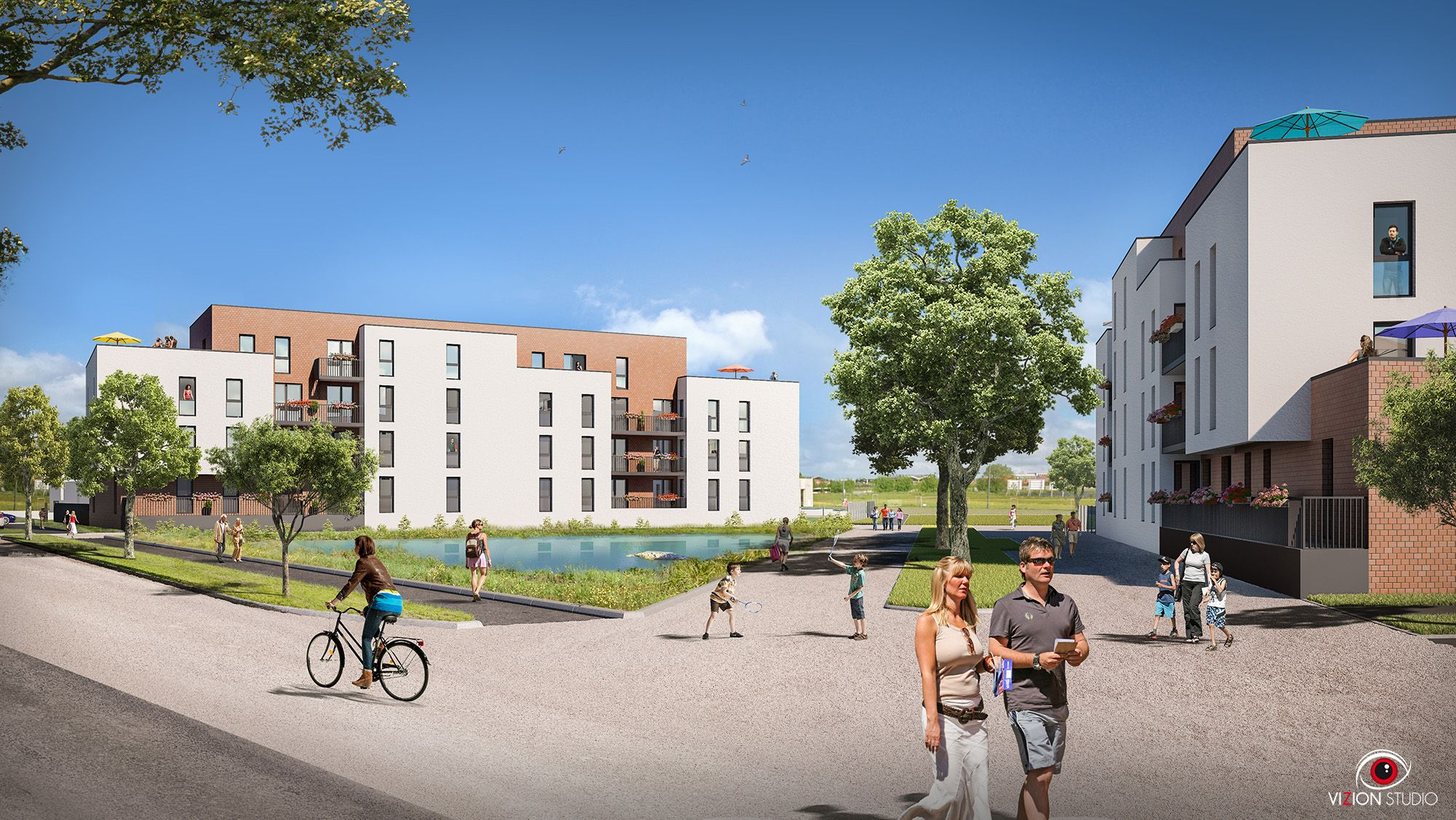 Perspective 3D pour la commercialisation d'un programme d'habitation à Isneauville pour Eiffage
