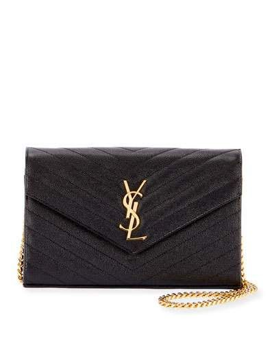 3d62df8c Monogram YSL Small Matelasse Envelope Chain Wallet Black | Products ...