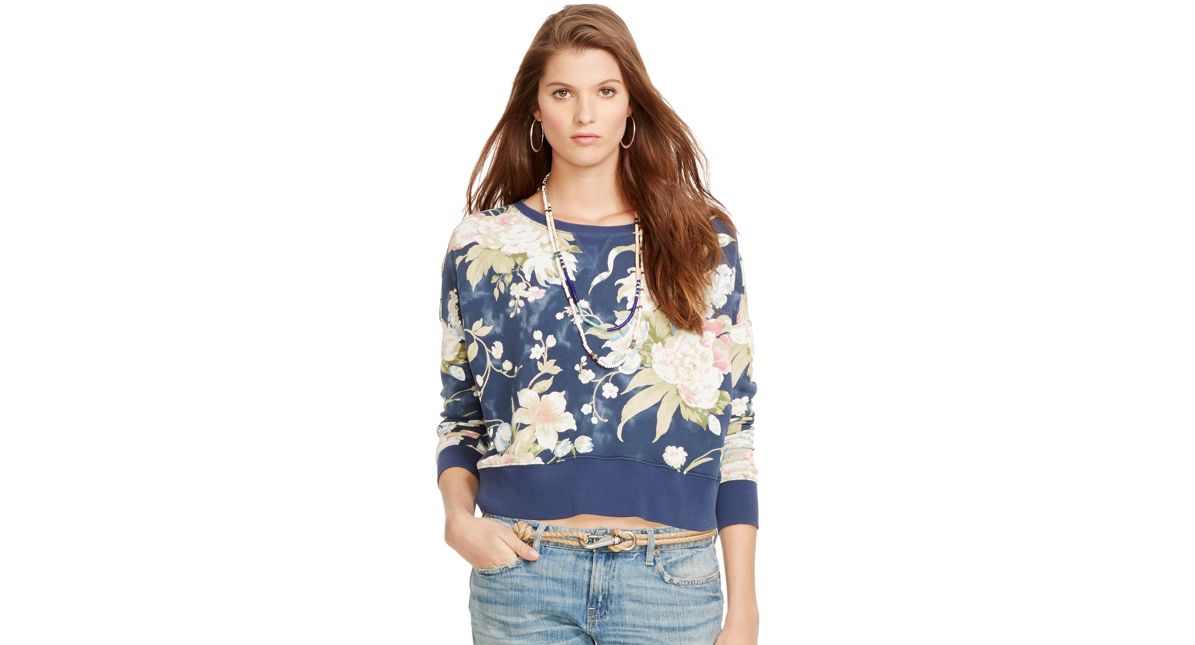 Polo Ralph Lauren Floral-Print Crew-Neck Sweatshirt
