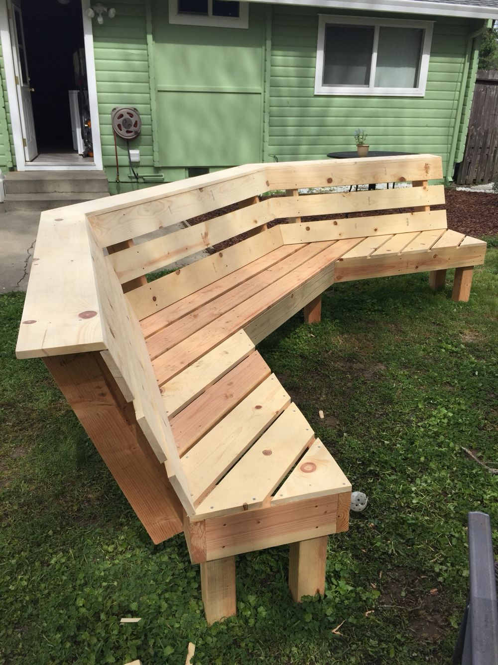 Made This Bench From Pinterest Plans Diy Bench Outdoor Fire Pit Bench Fire Pit Backyard