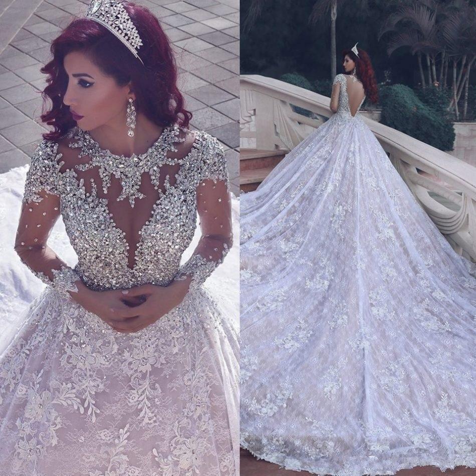 Vestido Noiva Princesa 2019 Church Arab Wedding Dresses Sequin Chapel Train Wedding  Gowns Lace Long Sleeve Bridal Dress Backless e99966a851cf