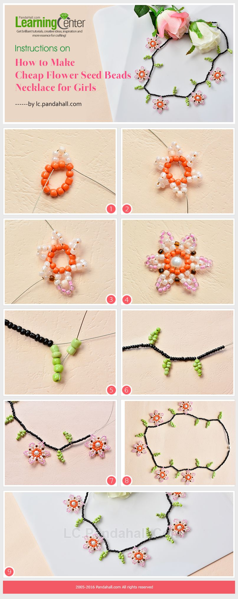 Instructions on How to Make Cheap Flower Seed Beads Necklace for Girls from LC.