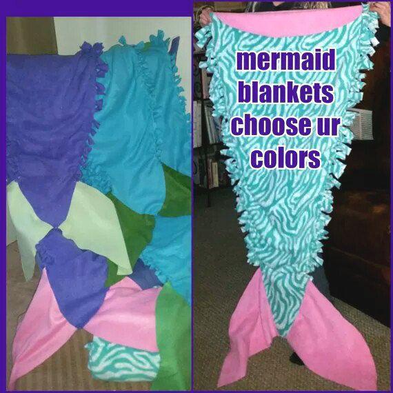 Tied Fleece Mermaid Tail Blanket By Midwestsheller On Etsy