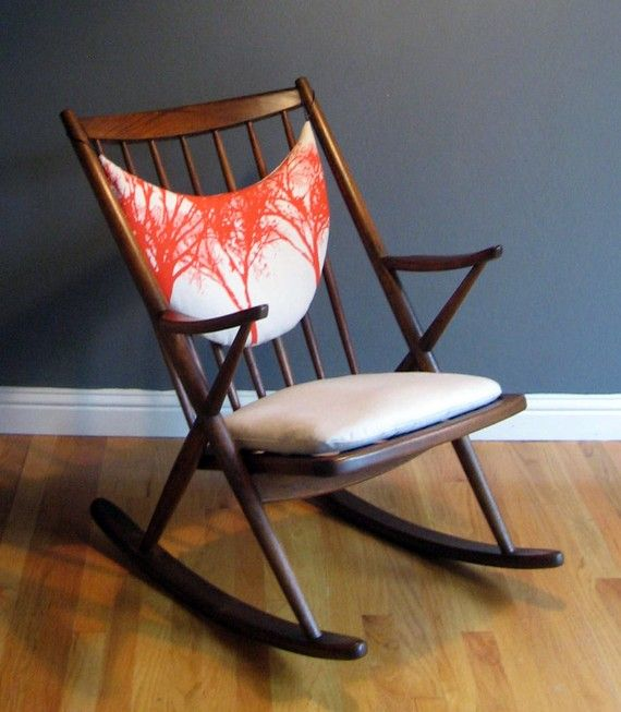 Vintage Danish Rocker with Handprinted Chair Pads by EnRouteStudio on Etsy #enroutestudio