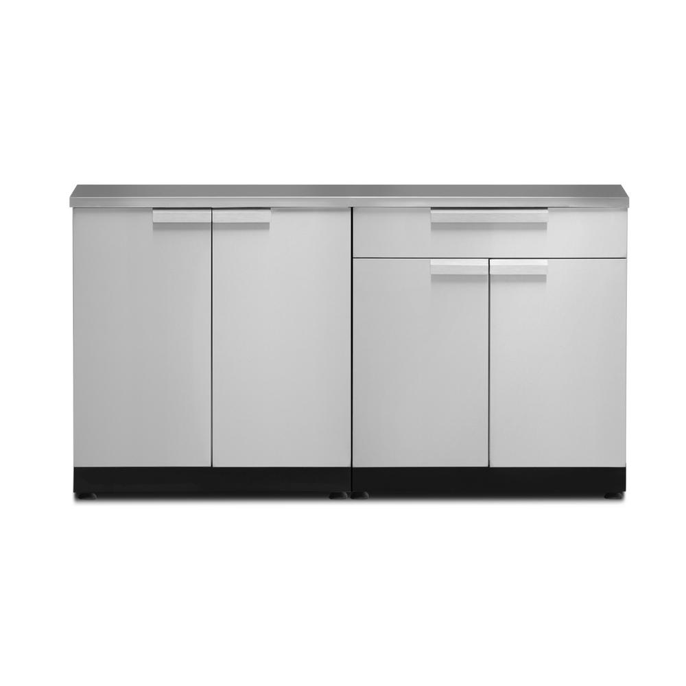 Newage Products Stainless Steel Classic 3 Piece 97x36x64 In Outdoor Kitchen Cabinet Set On Casters With Covers Outdoor Kitchen Sink Modular Outdoor Kitchens Outdoor Kitchen Cabinets
