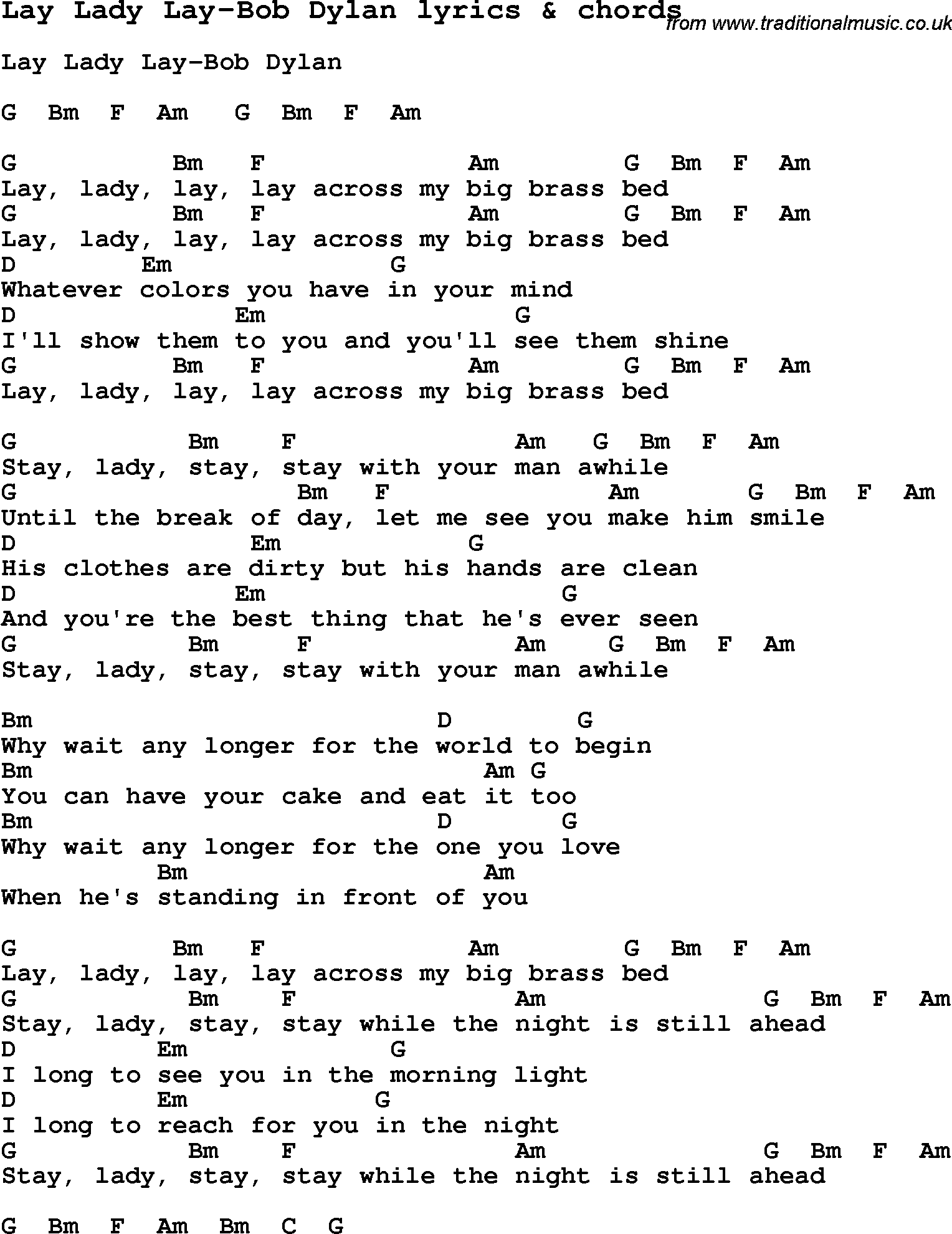 Lay Lady Lay Lyrics Love Lyrics For Lay Lady Lay Bob Dylan With