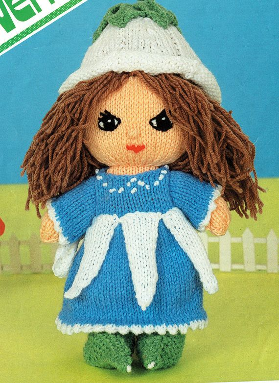Original Rag Doll Knitting Pattern Knitted Doll Victoria Plum