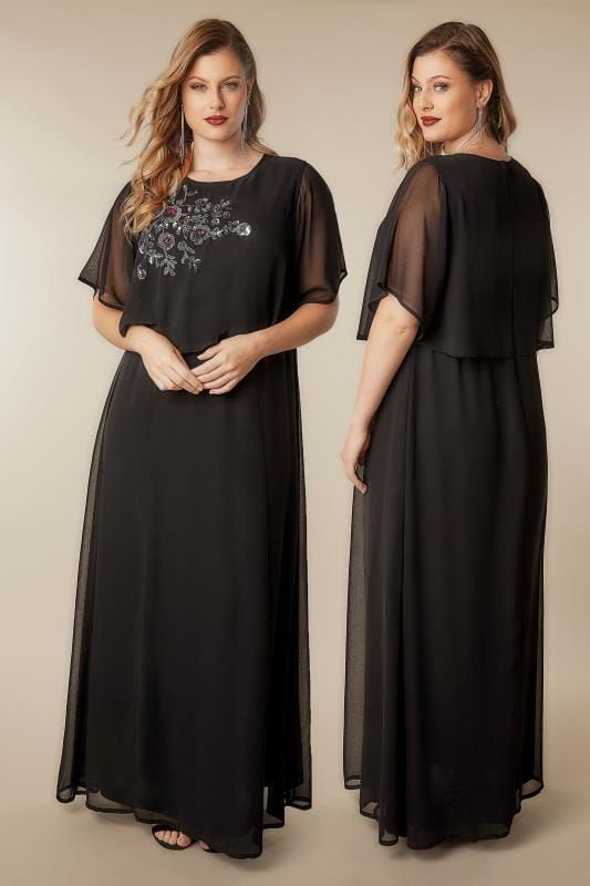 Plus Size - Special Occasion Black Embroidered Mesh