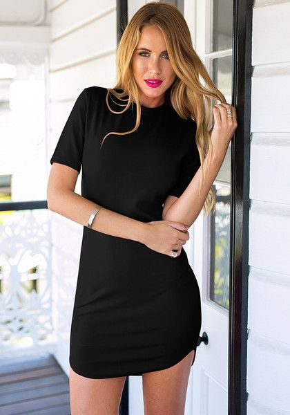 This black curved-hem bodycon dress is another worthy addition to your LBD collection.