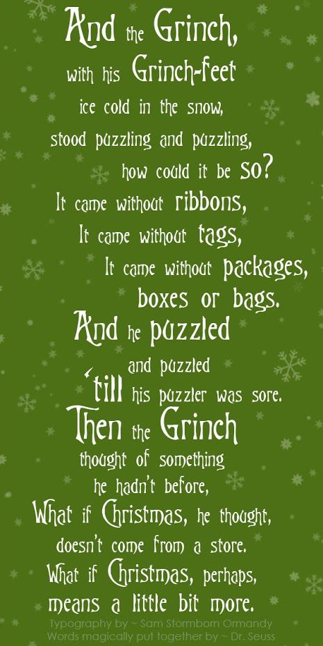Where Did Christmas Come From.From The Grinch Who Stole Christmas Grinch Green