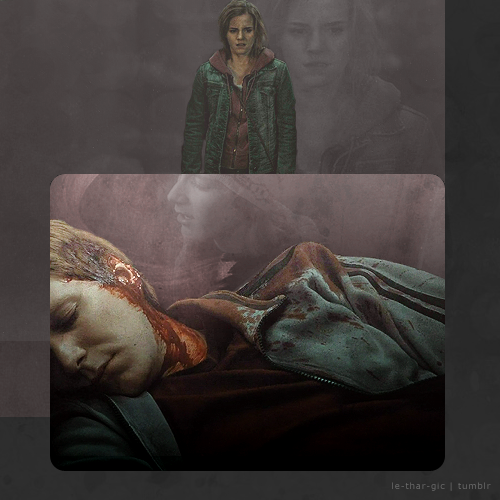 """bovveredforsooth:  le-thar-gic:  George/HermioneIn which George dies instead of Fred  Because I was challenged to do a drabble for this. She watched as Harry walked away from them and towards his death. He didn't have to say anything – she already knew. The fight had to continue though. She felt Ron tug at her hand gently, awakening her from her thoughts. """"It'll be okay,"""" he said quietly, though everything, from his posture to his facial expression told that he thought otherwise. She…"""