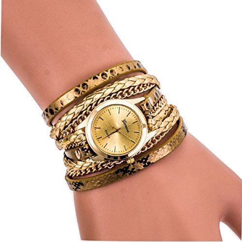 MerryDay Leopard Band Braided Winding Wrap Digital Simple Quartz Watch -- Read more by visiting the link on the image.