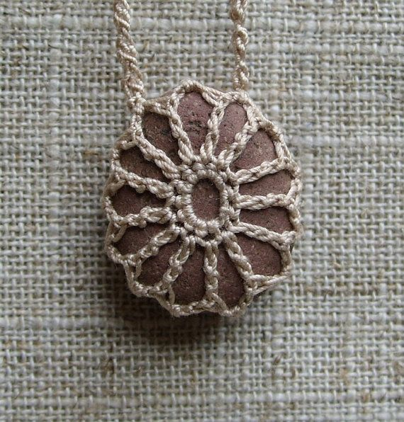 Lace Stone . Crochet Stone . River Rock Necklace . Bohemian Necklace ...