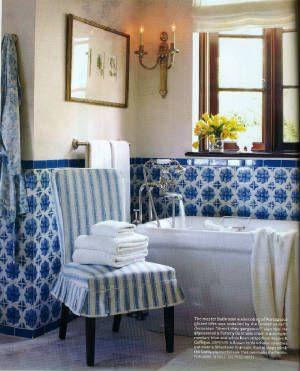 Decorator Tiles Lascaux Blue And White Portuguese Tile Flower Bath Montecito