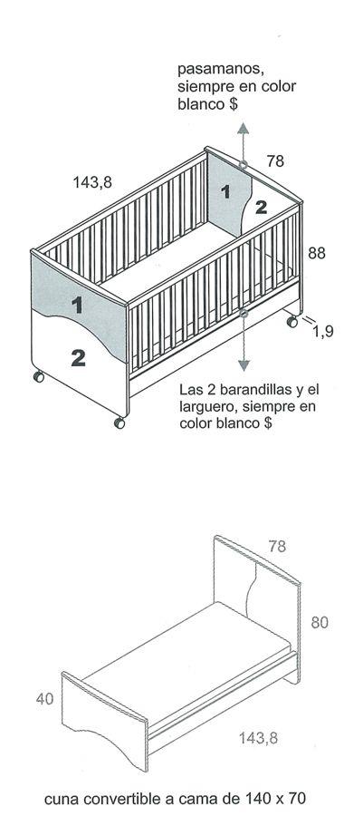 Mueble de Bebé Cuna Convertible Camaleón 140x70 - Muebles de bebé ...