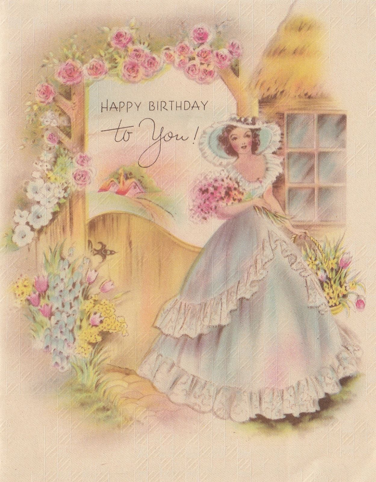 Vintage Greeting Card Girl Lady Southern Belle Birthday 1940s