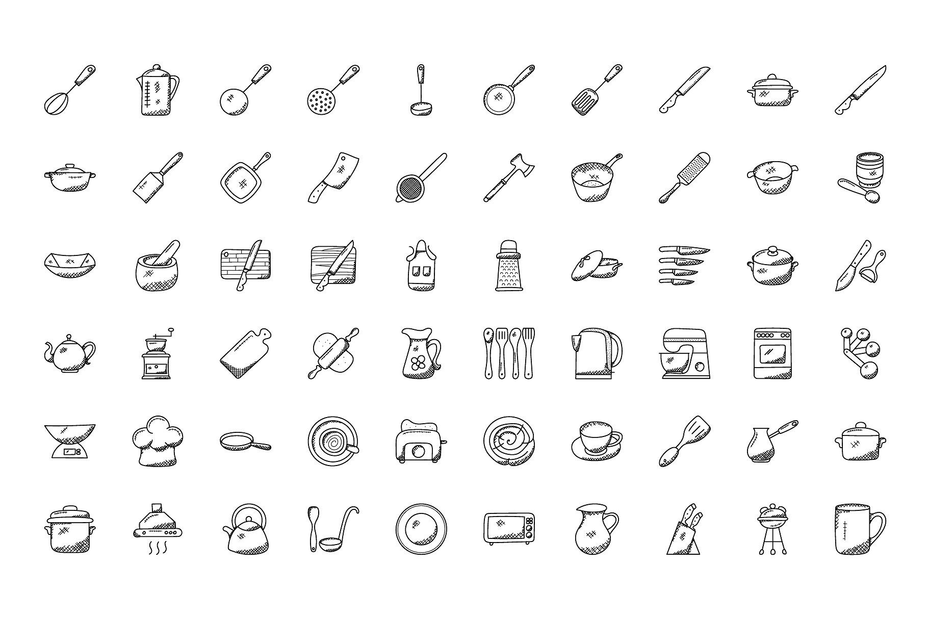 100 Doodles Of Kitchen Utensils Doodles Kitchen Icons