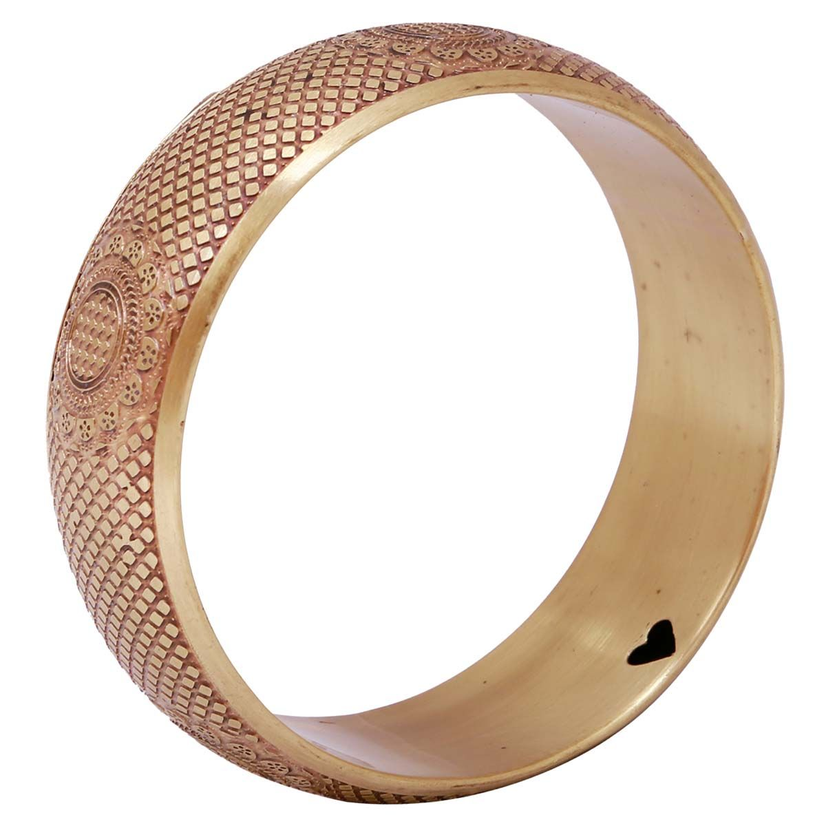 Bulk Wholesale Handmade Antique-Look Metal Bangle with Golden Finish – Designed with Intricate Patterns on the Outer Side & Black Hearts on the Inner Side – Fashion Accessories / Stylish Jewelry from India
