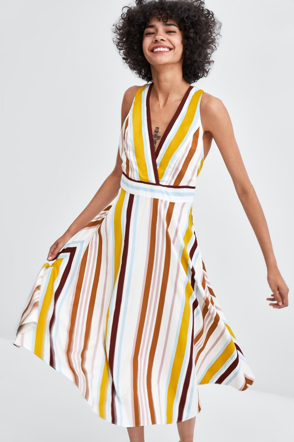 af082a1f0fec Striped midi dress in 2019 | Dresses | Striped midi dress, Dresses ...