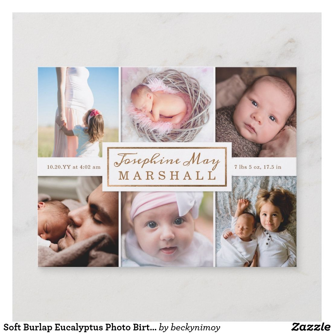 Soft Burlap Eucalyptus Photo Birth Announcement Holiday Cards Announcements Baby Pregnancy
