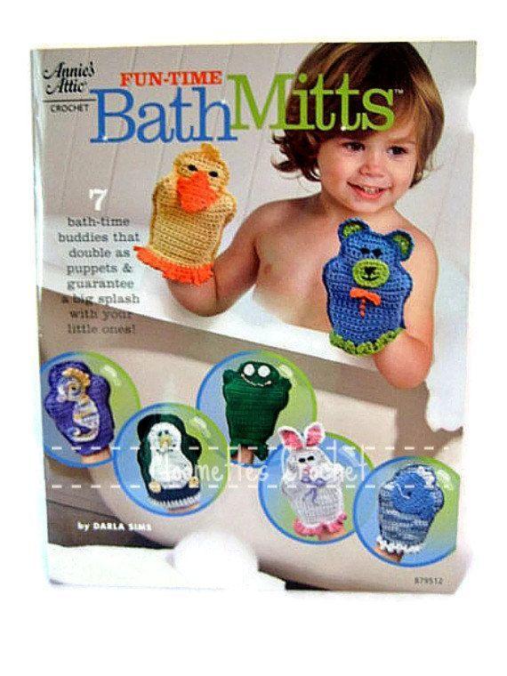 kids puppet crochet washcloth | Crochet Pattern Book, Bath Mitt, Puppets, Wash Cloth, Scrubbie, 7 ...