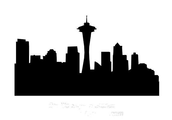 Stencil Seattle City Skyline 10 X 5 Seattle Skyline Painting Seattle Skyline Silhouette Seattle Skyline Outline