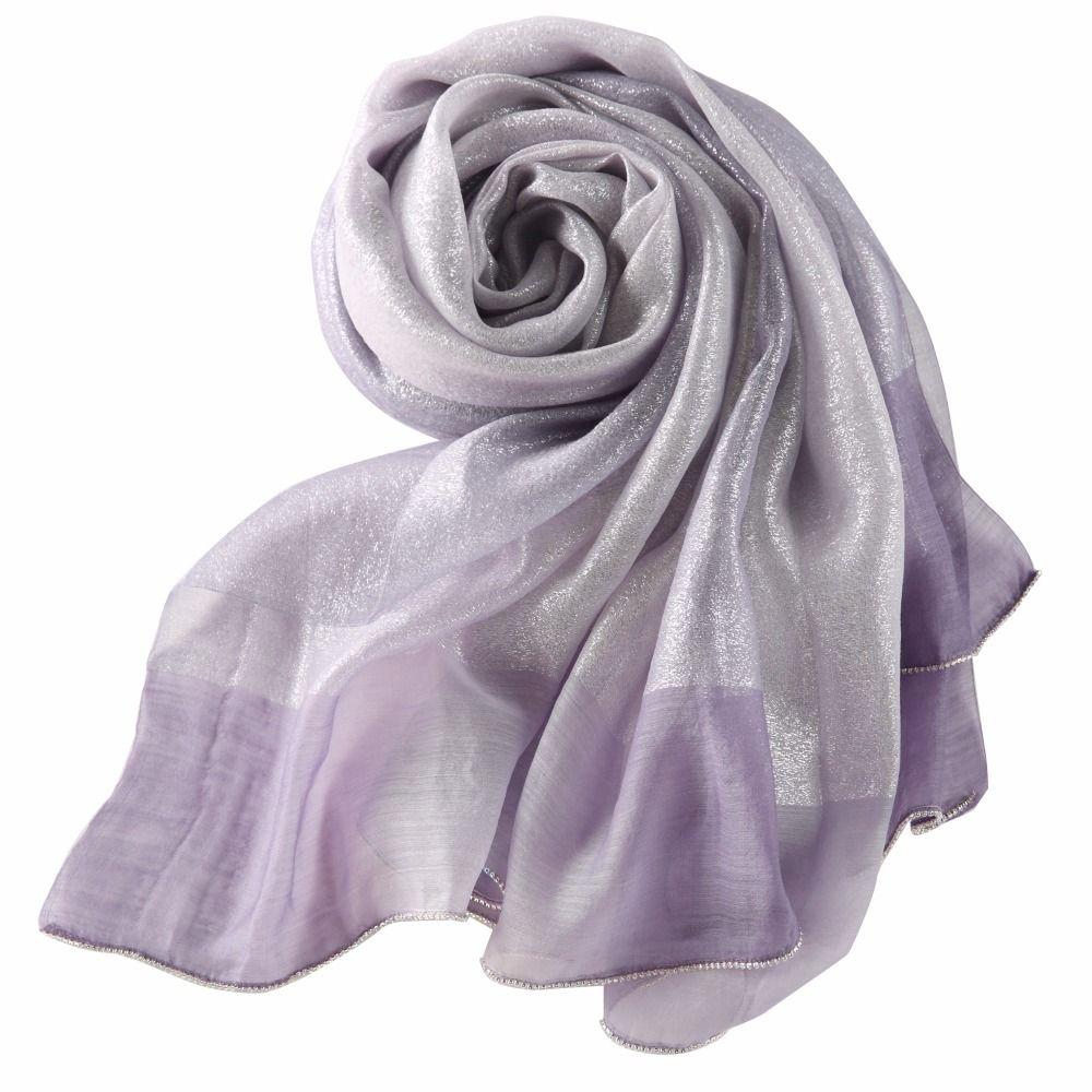 3d961e982 Lightly Women Elegant Lady Silk Scarf Summer Gradient Color Georgette  Shawls Scarves foulard femme silk wool Silver pashmina #Affiliate