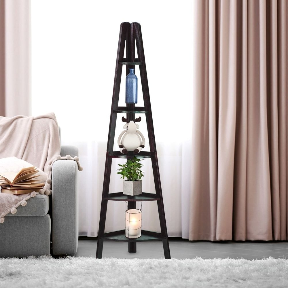Shelf corner ladder espresso bookcase overstock shopping