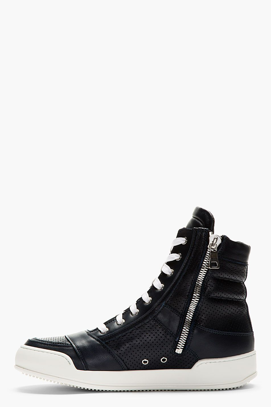 best sneakers ddd05 dfba7 BALMAIN Navy Perforated High-Top Sneakers. Find this Pin and more on cool  shoes ...