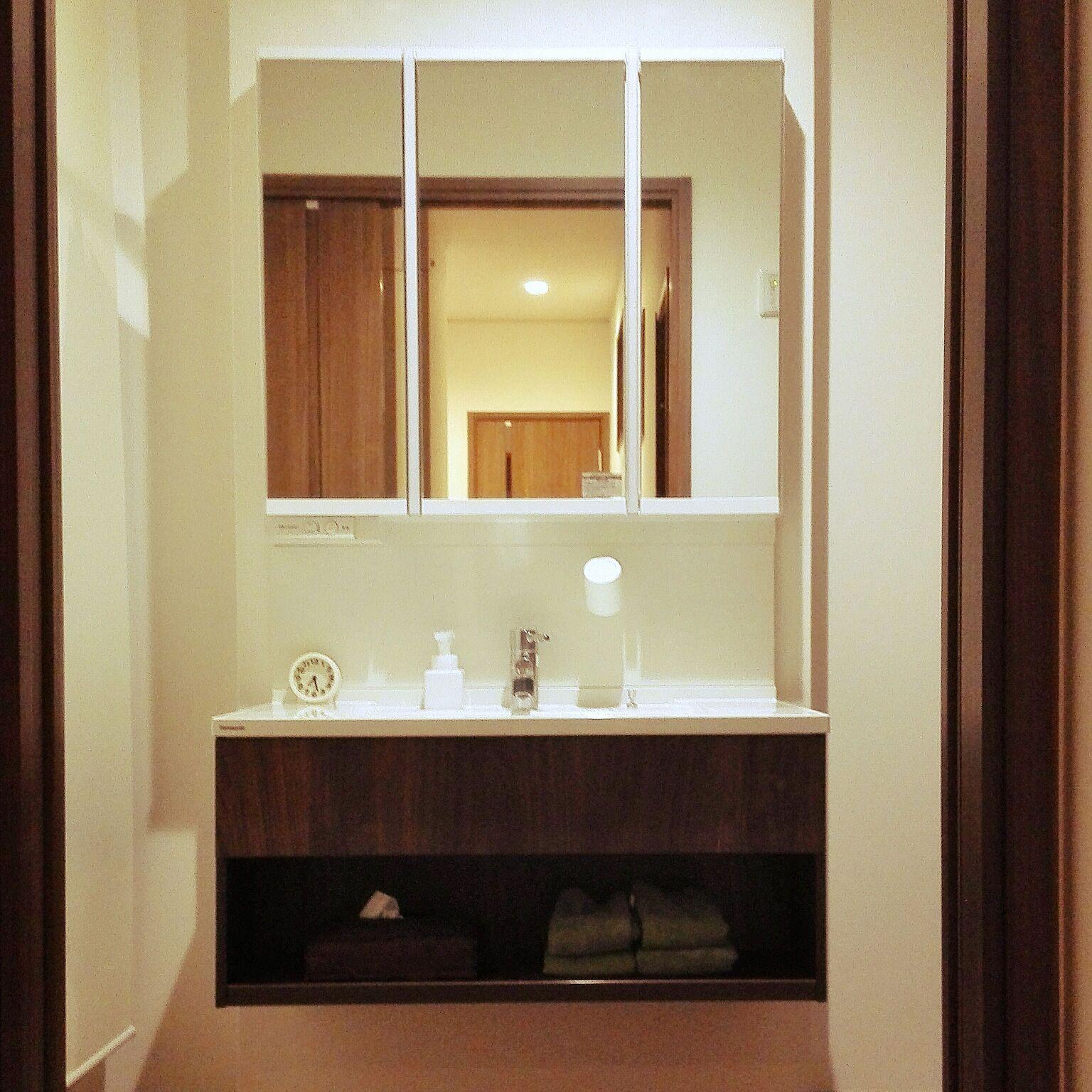 バス トイレ ウォールナット Panasonic洗面台 シーライン 洗面所 などのインテリア実例 2017 11 29 19 52 16 Roomclip ルームクリップ 洗面所 洗面台 インテリア 実例