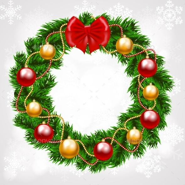 Christmas Fir Tree Wreath Christmas Wreath Illustration Christmas Wreath Designs Christmas Wreath Clipart