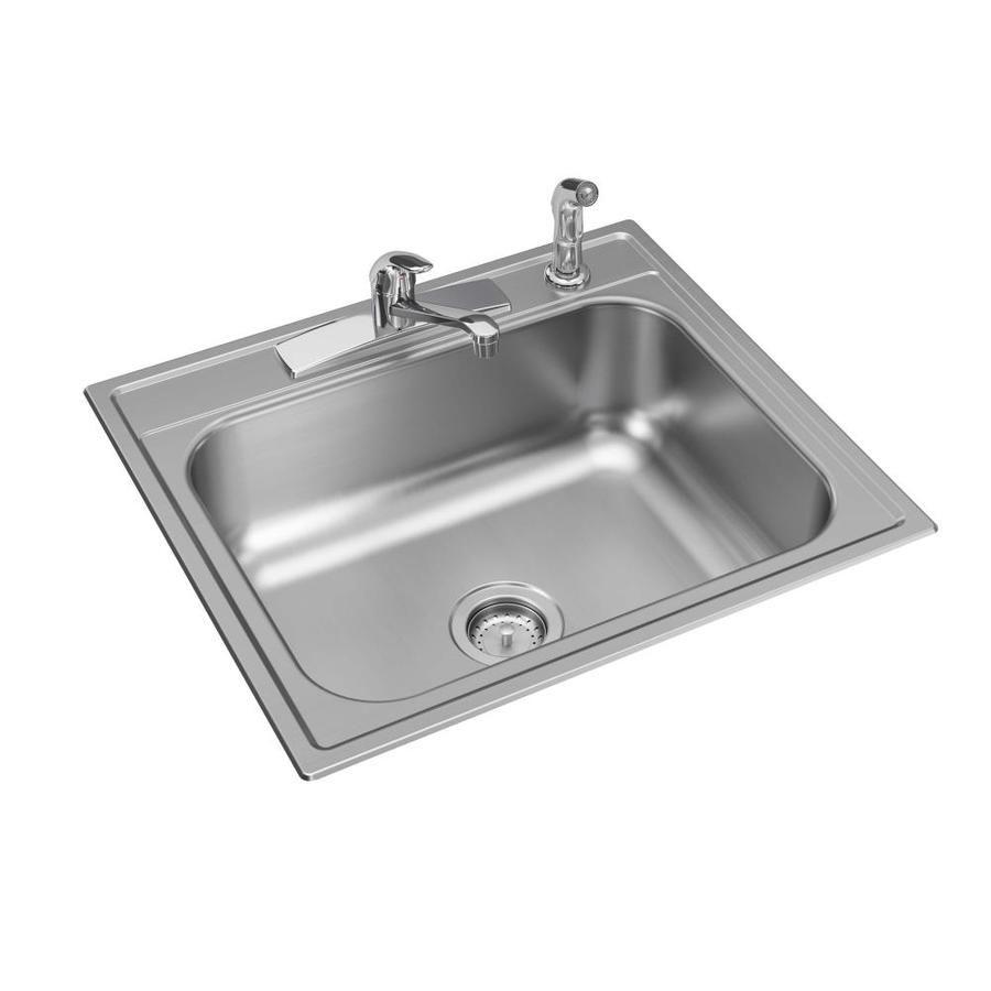 Elkay 25 In X 22 In Stainless Steel Single Bowl Drop In 4 Hole
