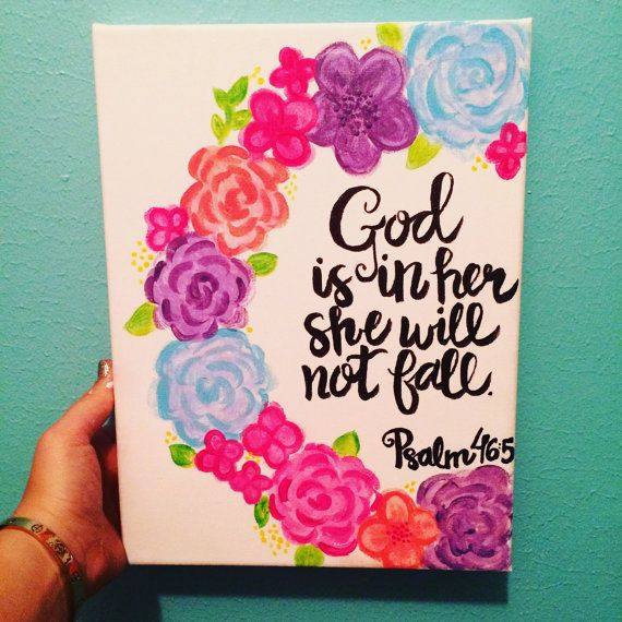 psalm god is in her she will not fall canvas quote painting