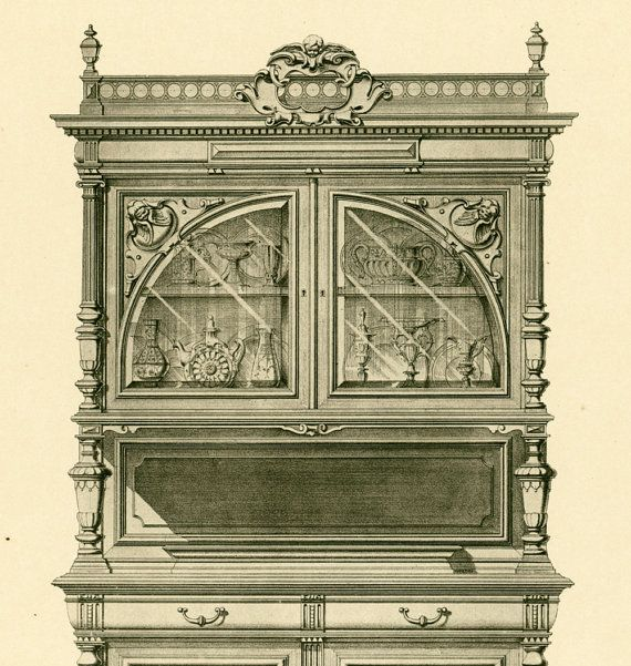Louis XIII sideboard, set of 2 prints (drawing + detailed execution plans). NO MORE SHIPPING CHARGES for several prints from this serie of furniture blueprints.  Widely pro... #cabinet-maker