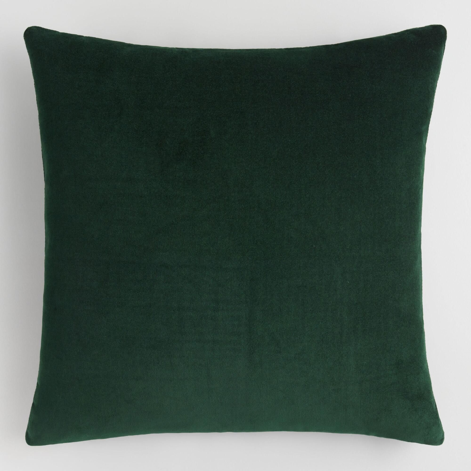 Forest Green Velvet Throw Pillow By World Market