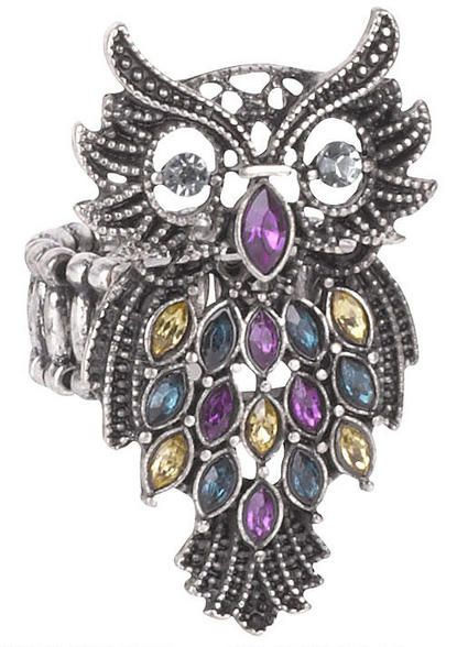 Owl Stretch Ring with Colored Stones - View All Accessories - Accessories - dELiA*s