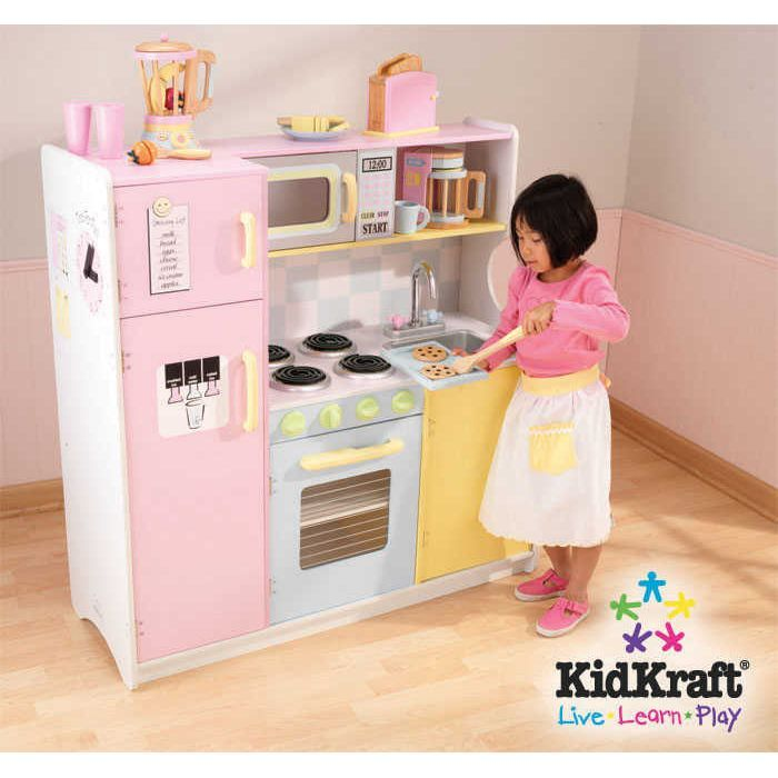 kidkraft cuisine enfant en bois large pastel cuisine en bois achat vente et dinette. Black Bedroom Furniture Sets. Home Design Ideas