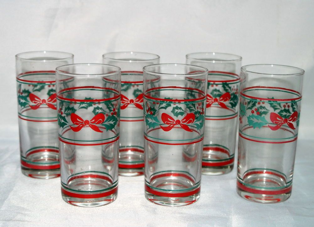 Vintage Christmas Glasses Tumblers Set 6 Ribbons Holly Leaves Nestle