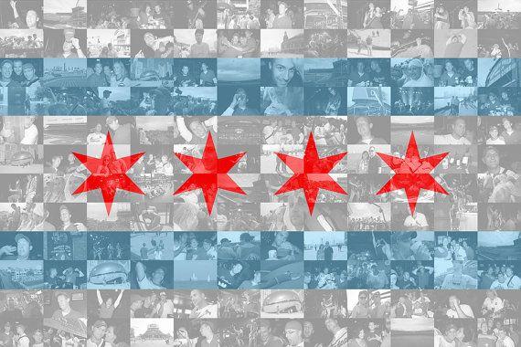 Chicago Flag Photo Mosaic Collage 36x24 Inch Print Photo Mosaic Photo Mosaic Collage Chicago Flag Art