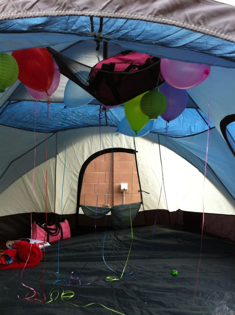balloons inside the tent for the camp out sleep over !!!