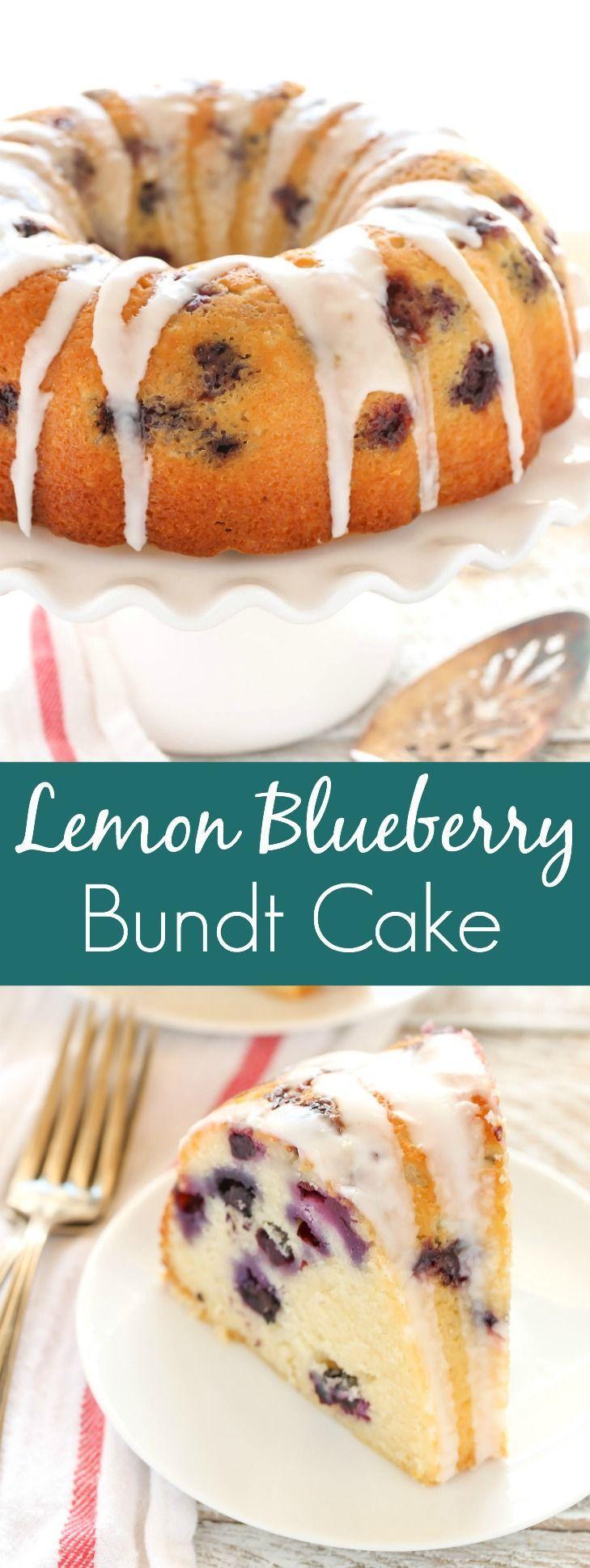 A moist lemon bundt cake filled with fresh blueberries and