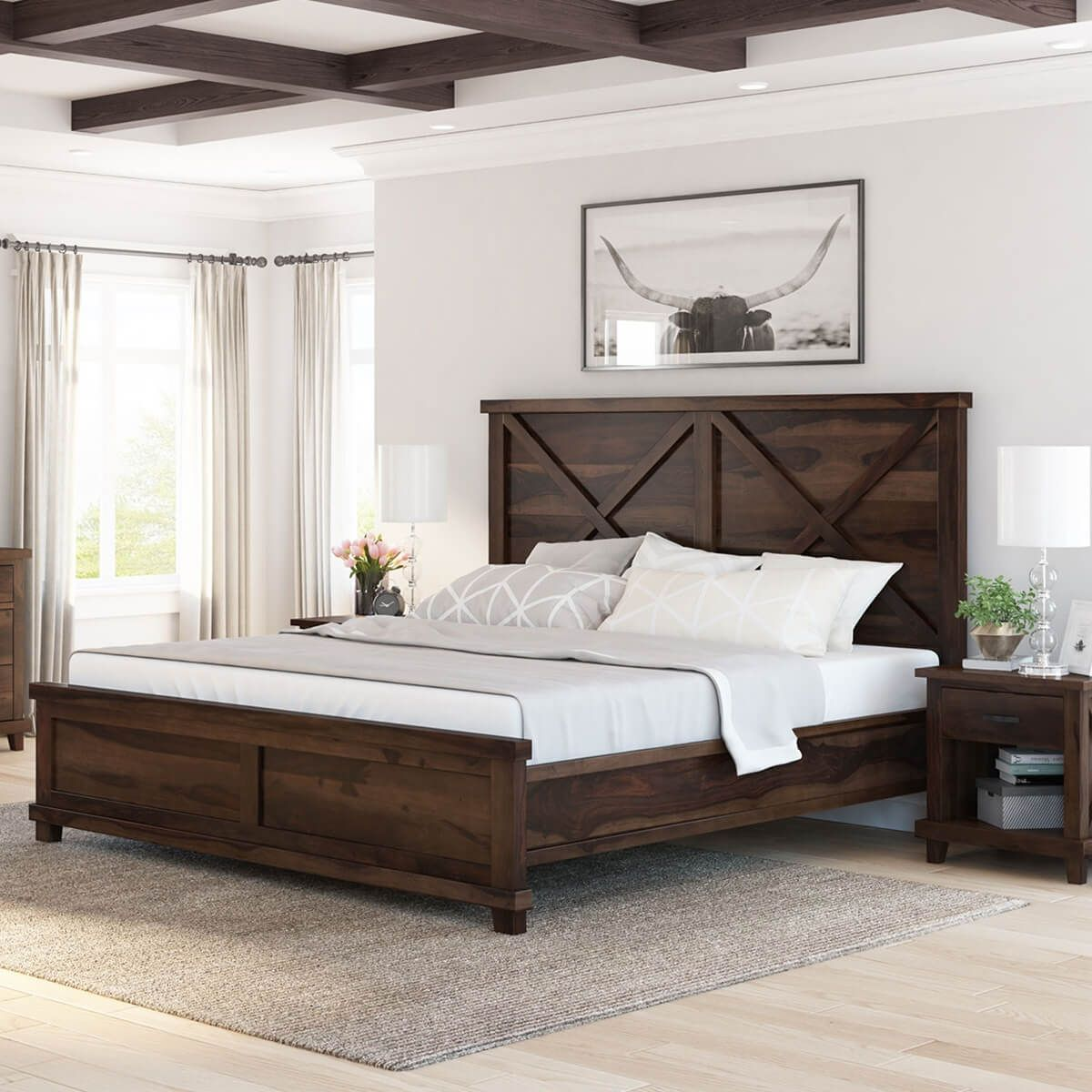 Antwerp Rustic Farmhouse Solid Wood Platform Bed Frame in