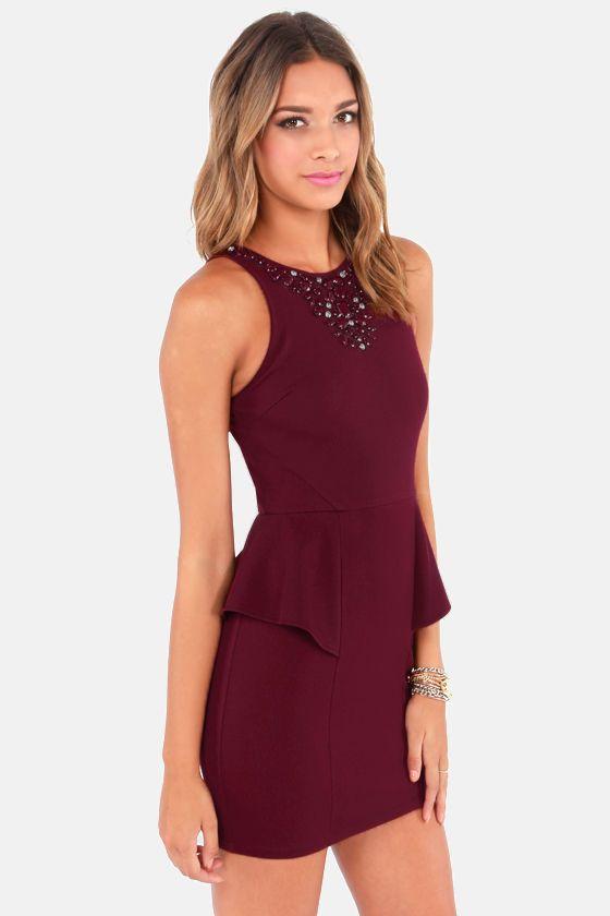 6cb15e1a1f72 Gem Fatale Beaded Burgundy Dress