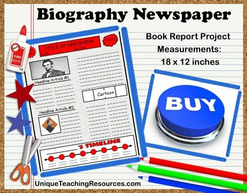 Biography Book Report Newspaper templates, worksheets, and